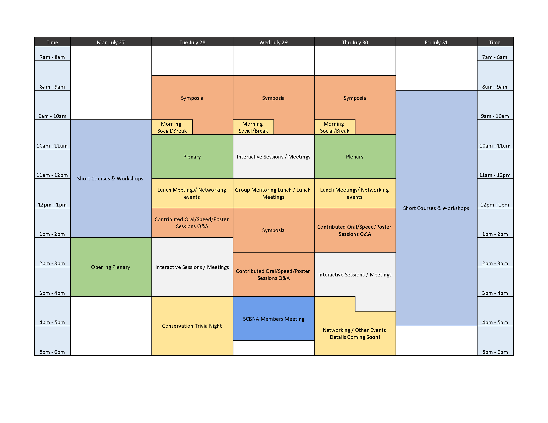 schedule-at-a-glance for NACCB 2020